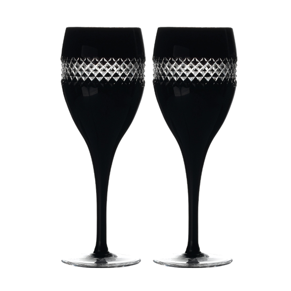 Waterford John Rocha - Black Cut Rode wijnglas - set van 2