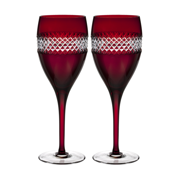 Waterford John Rocha - Red Cut Rode wijnglas - set van 2