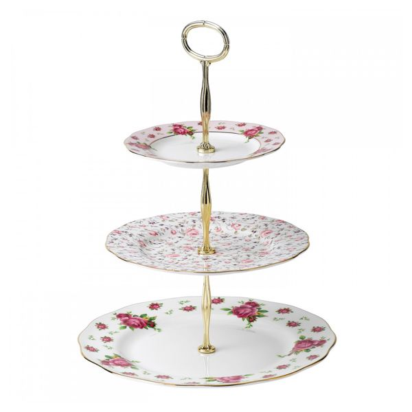 Royal Albert New Country Roses Etagere - white vintage