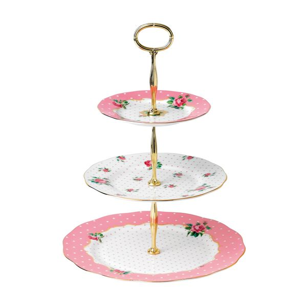 Royal Albert Cheeky Pink Etagere - vintage