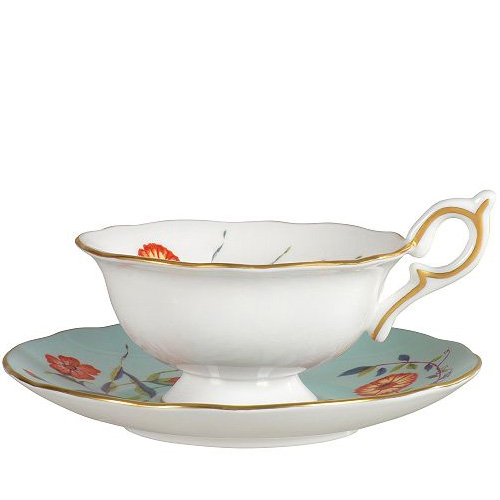 Wedgwood Harlequin Collection Turquoise Crocus, theekop en schotel